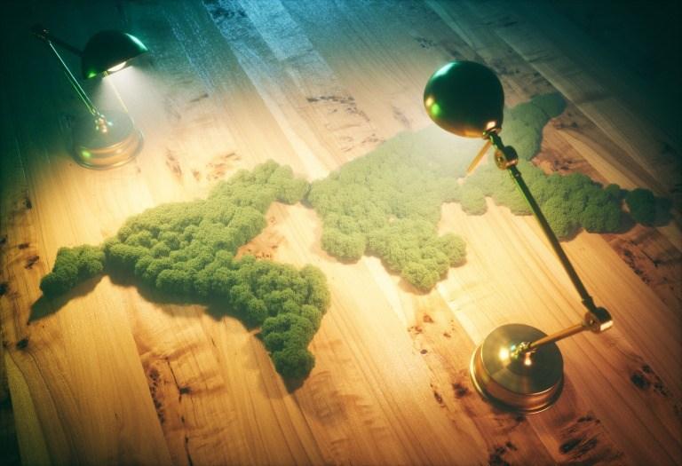 グリーンで作られた世界地図