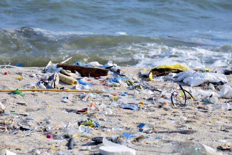 砂浜に打ち上げられたプラスチックごみ